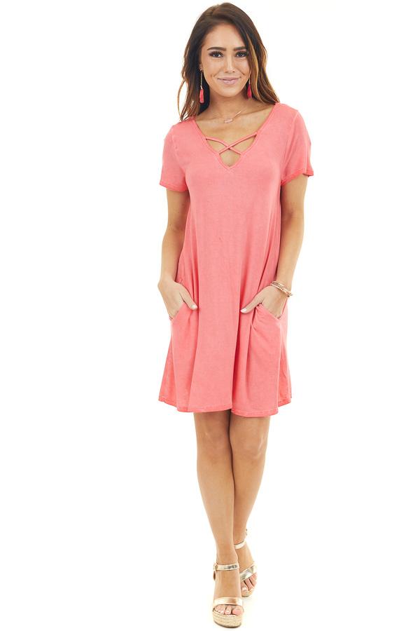 Bright Coral Mineral Wash Dress with Criss Cross Neckline front full body