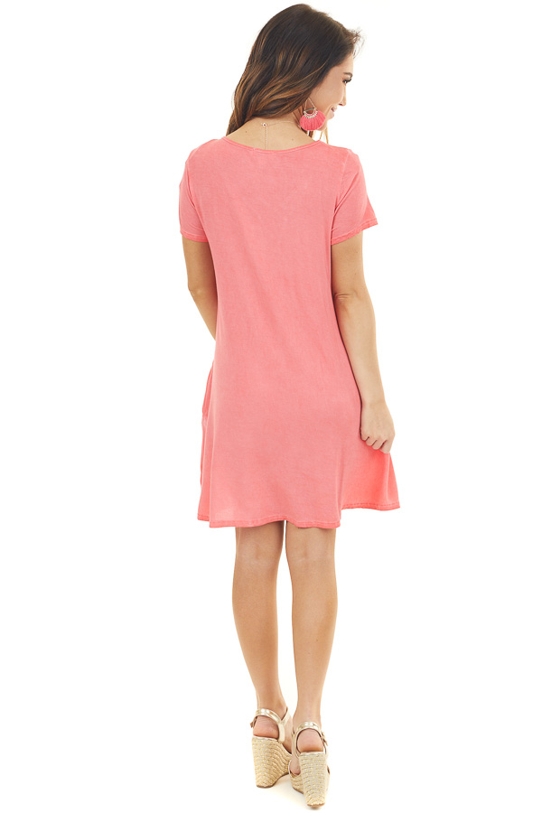 Bright Coral Mineral Wash Dress with Criss Cross Neckline back full body
