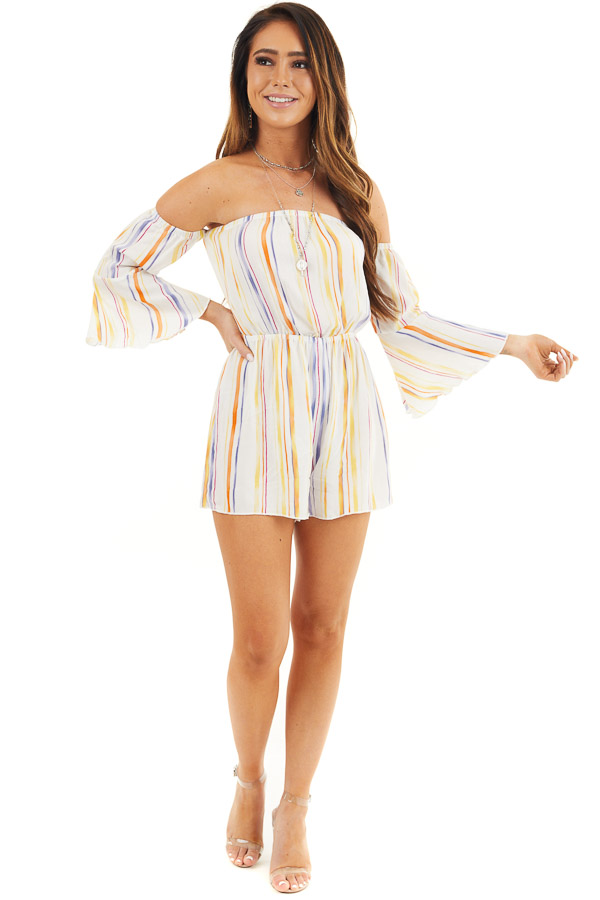 White Off Shoulder Romper with Multicolor Vertical Stripes front full body