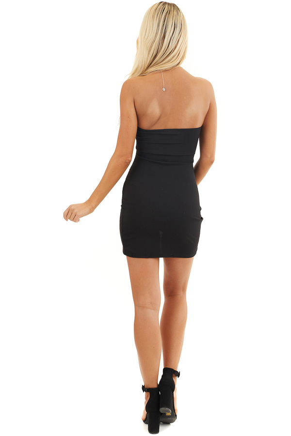 Black Strapless Bodycon Dress with Side Ruching back full body