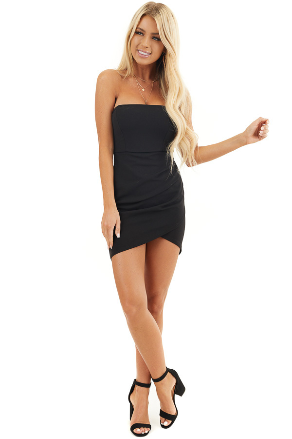 Black Strapless Bodycon Dress with Side Ruching front full body