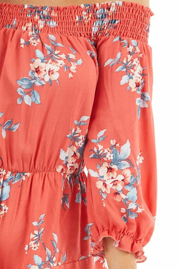 Deep Coral Floral Print Off Shoulder Romper with Ruffles detail