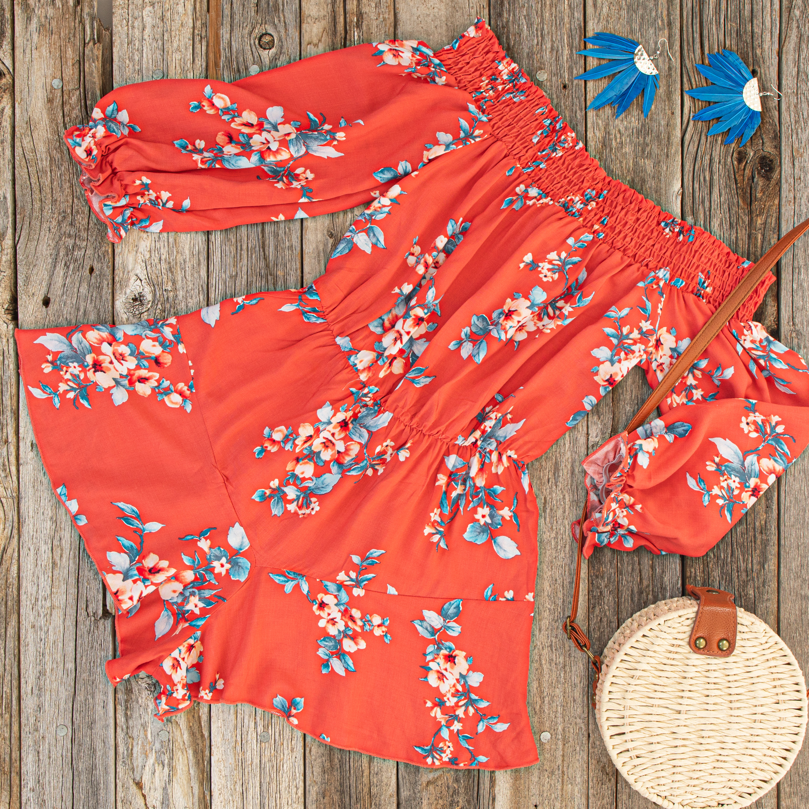 Deep Coral Floral Print Off Shoulder Romper with Ruffles