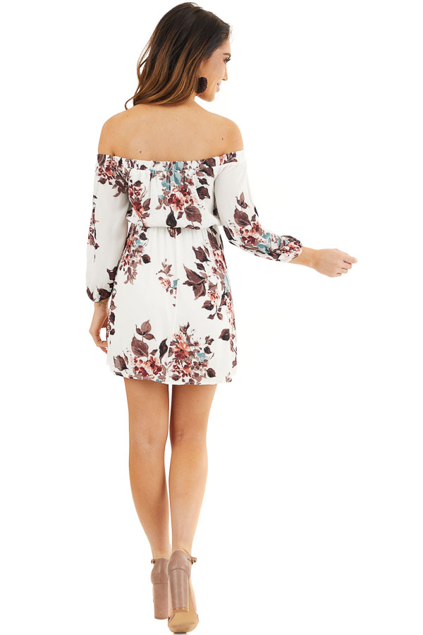 White Floral Off Shoulder Mini Dress with 3/4 Length Sleeves back full body