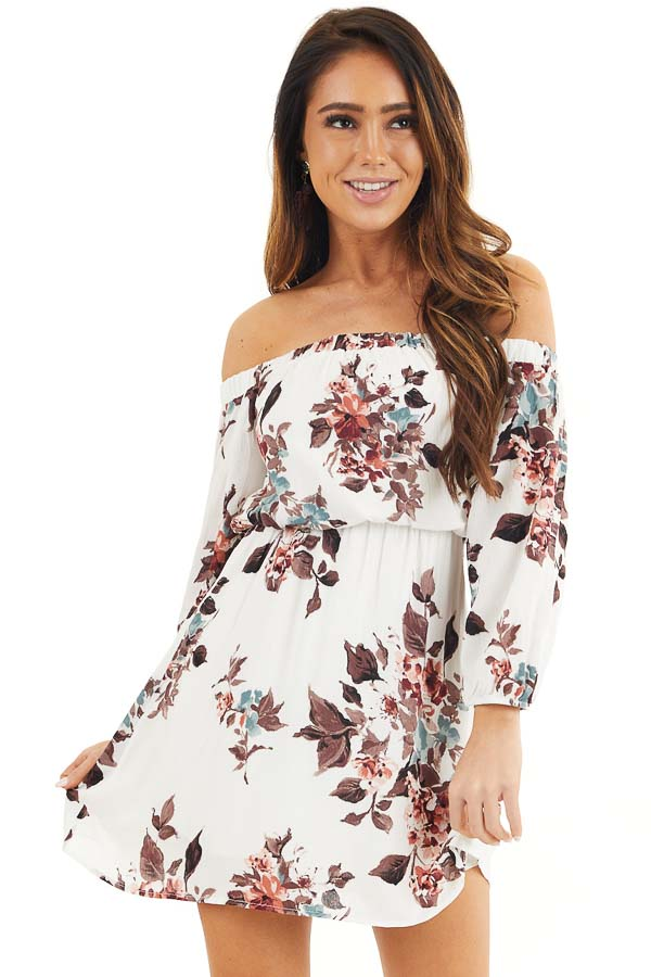 White Floral Off Shoulder Mini Dress with 3/4 Length Sleeves front close up