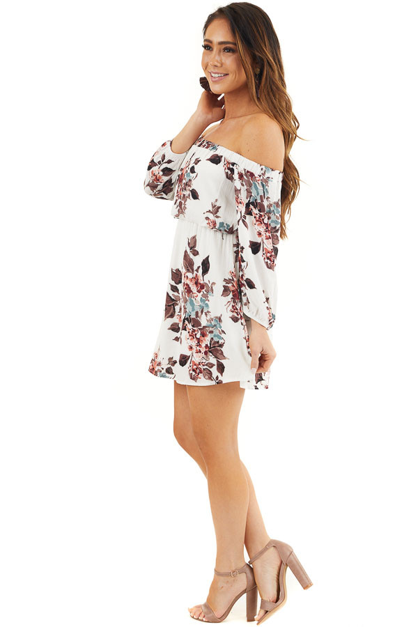 White Floral Off Shoulder Mini Dress with 3/4 Length Sleeves side full body