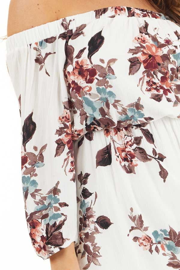 White Floral Off Shoulder Mini Dress with 3/4 Length Sleeves detail