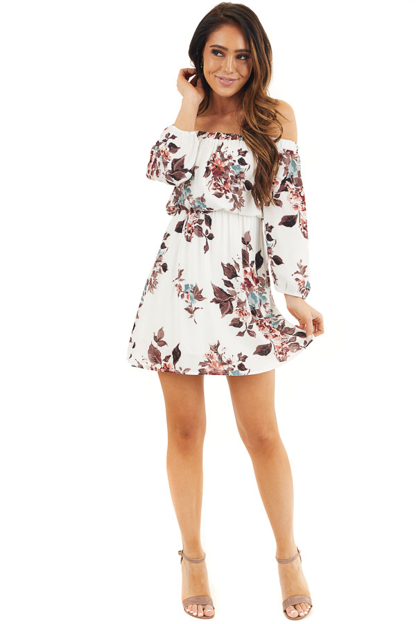 White Floral Off Shoulder Mini Dress with 3/4 Length Sleeves front full body