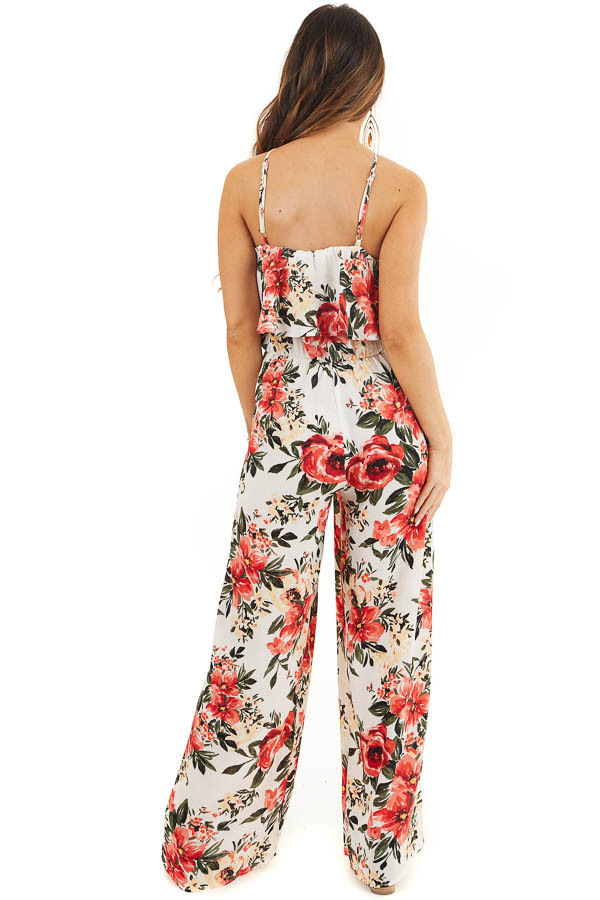 White Floral Print Sleeveless Jumpsuit with Bust Overlay back full body
