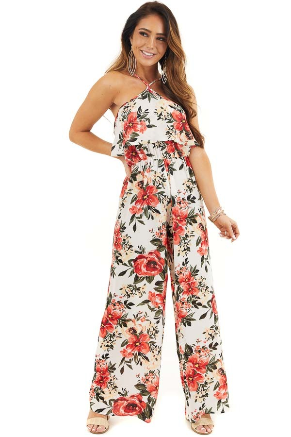 White Floral Print Sleeveless Jumpsuit with Bust Overlay front full body