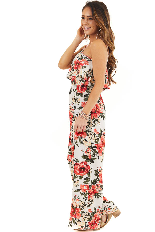 White Floral Print Sleeveless Jumpsuit with Bust Overlay side full body