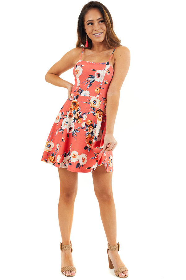 Bright Coral Floral Print Short Dress with Back Tie Detail front full body