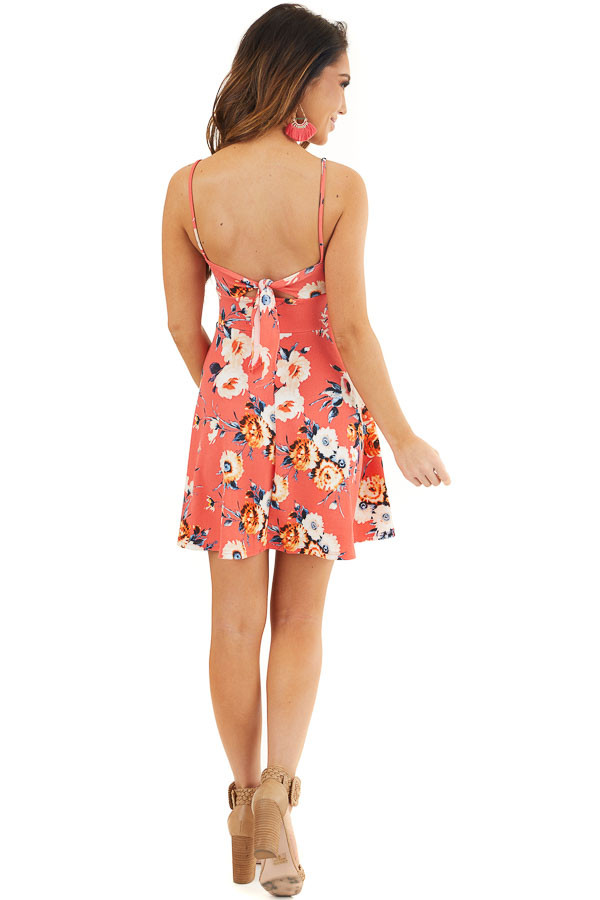 Bright Coral Floral Print Short Dress with Back Tie Detail back full body