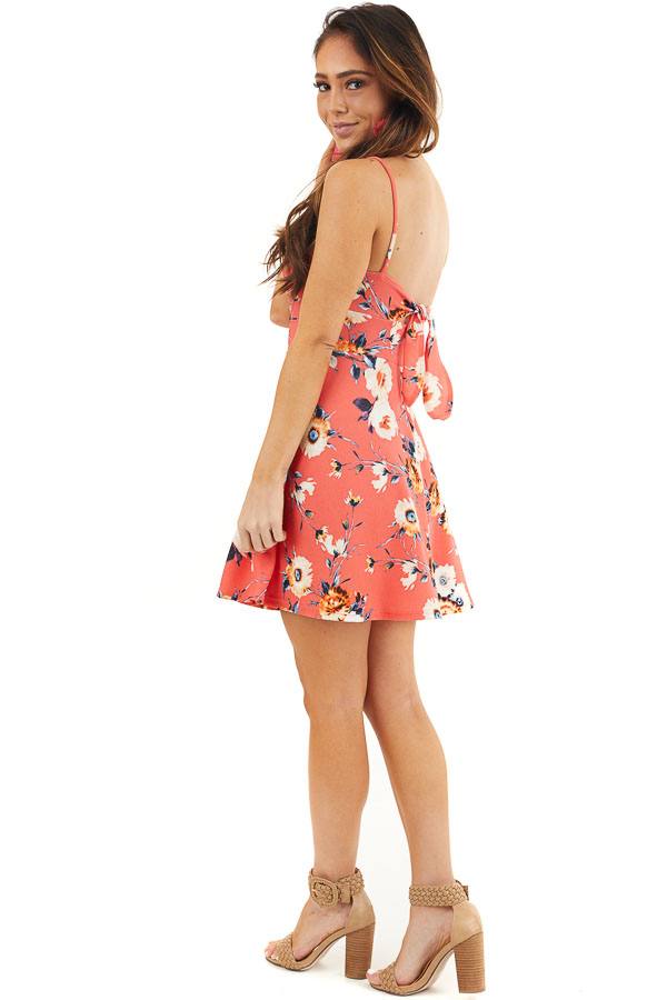Bright Coral Floral Print Short Dress with Back Tie Detail side full body