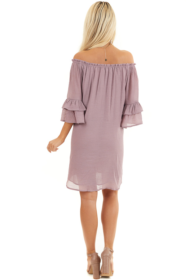 Dusty Lilac Off the Shoulder Dress with Floral Embroidery back full body