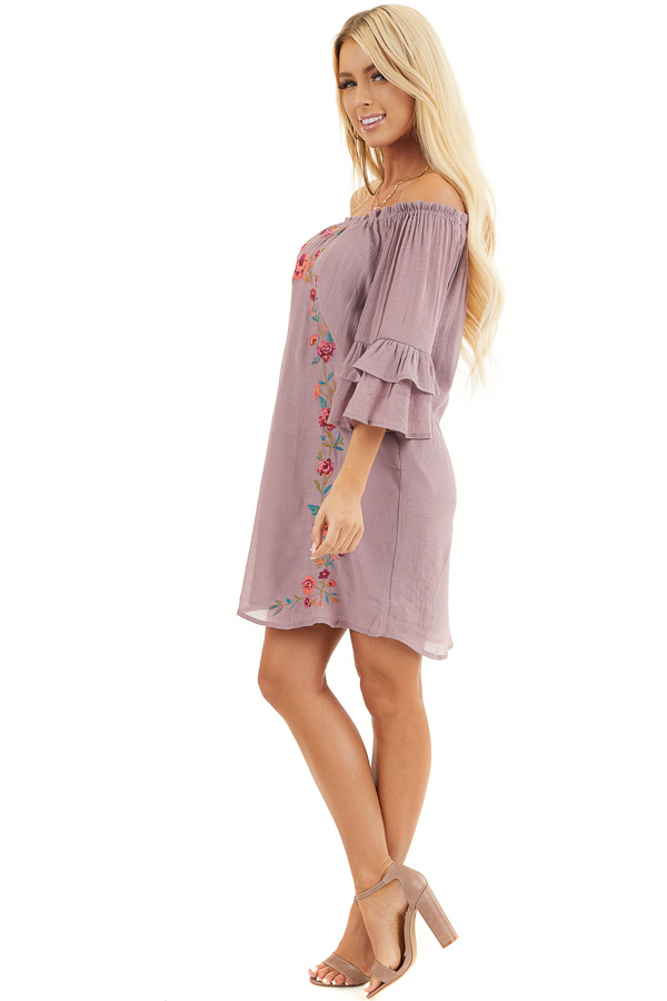 Dusty Lilac Off the Shoulder Dress with Floral Embroidery side full body