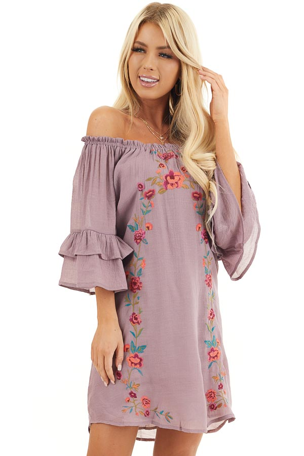 Dusty Lilac Off the Shoulder Dress with Floral Embroidery front close up