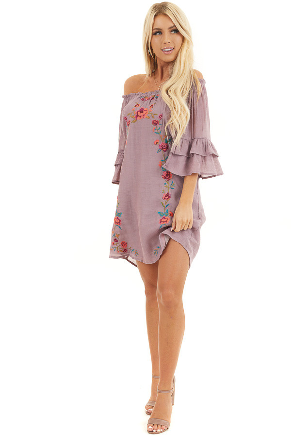Dusty Lilac Off the Shoulder Dress with Floral Embroidery front full body