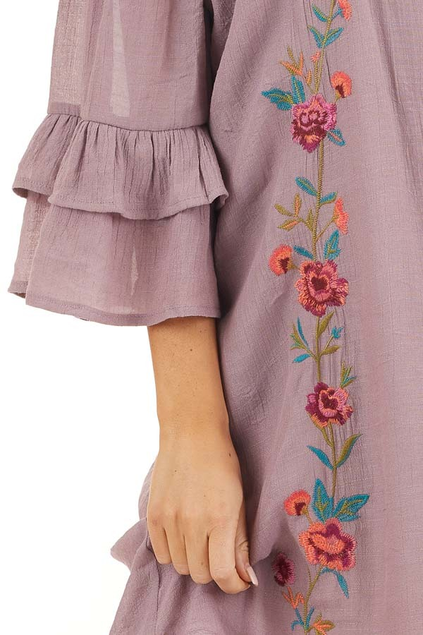 Dusty Lilac Off the Shoulder Dress with Floral Embroidery detail