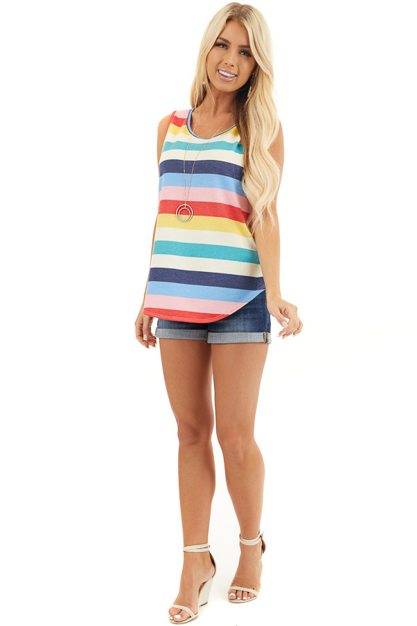 Rainbow Striped Round Neck Tank Top with Rounded Hemline front full body