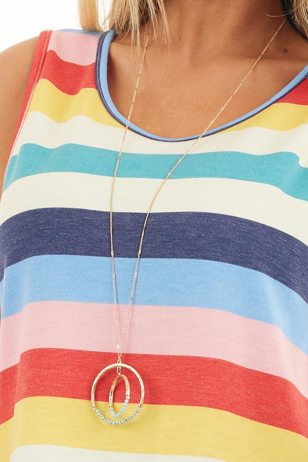Rainbow Striped Round Neck Tank Top with Rounded Hemline detail