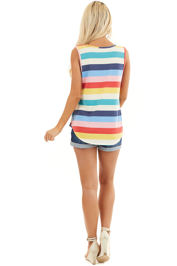 Rainbow Striped Round Neck Tank Top with Rounded Hemline back full body