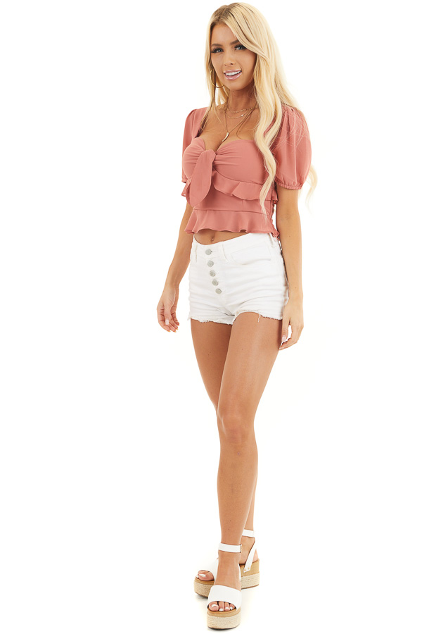 Terracotta Short Sleeve Woven Top with Smocked Back Detail front full body