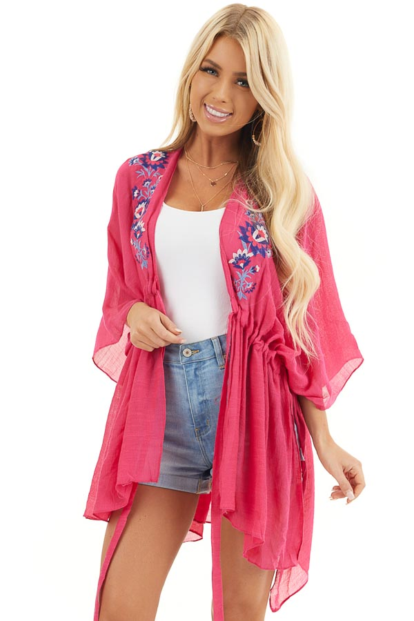 Dark Pink Kimono with Floral Embroidery and Front Tie front close up