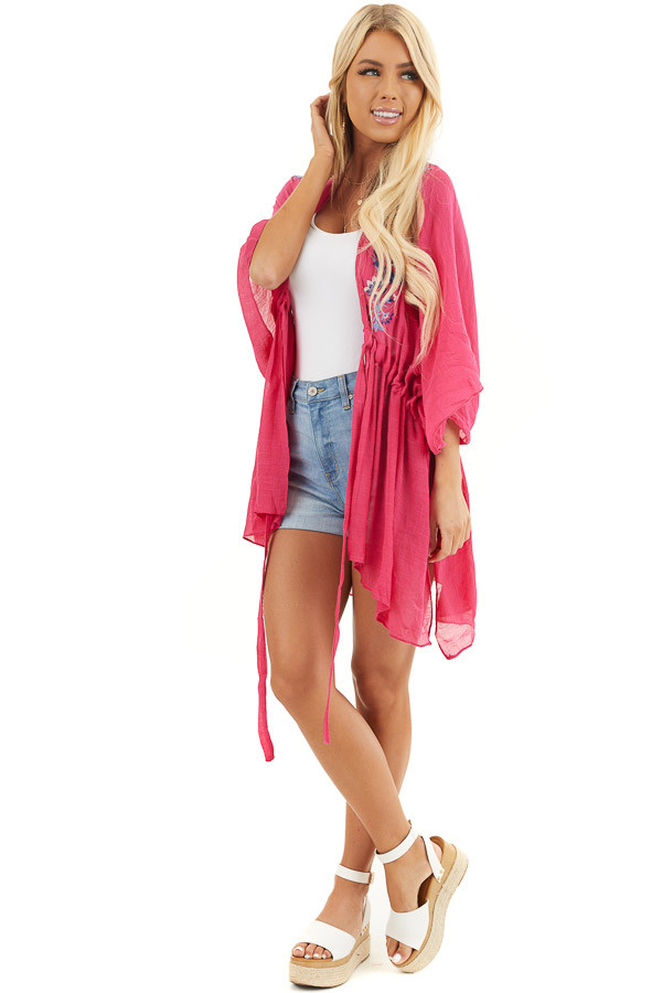 Dark Pink Kimono with Floral Embroidery and Front Tie front full body