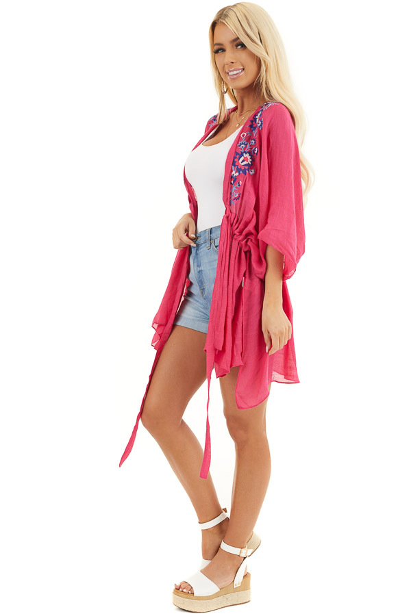 Dark Pink Kimono with Floral Embroidery and Front Tie side full body