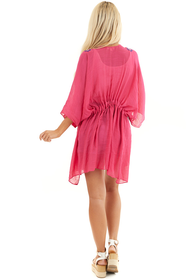 Dark Pink Kimono with Floral Embroidery and Front Tie back full body
