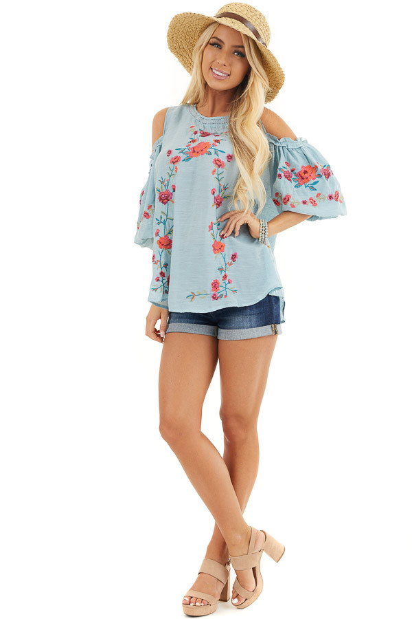 Baby Blue Floral Embroidered Top with Cold Shoulder Sleeve front full body