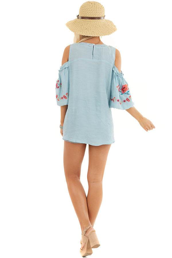Baby Blue Floral Embroidered Top with Cold Shoulder Sleeve back full body
