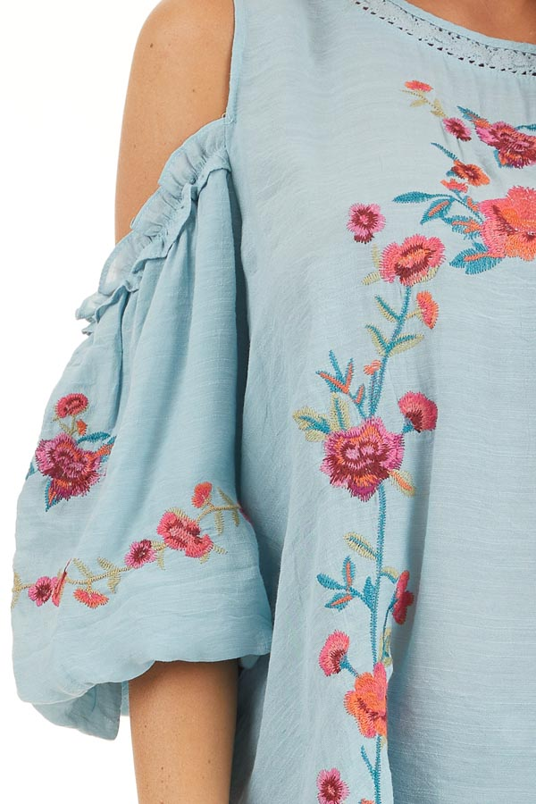 Baby Blue Floral Embroidered Top with Cold Shoulder Sleeve detail