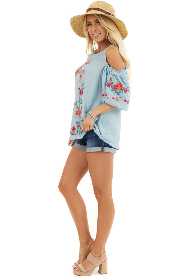 Baby Blue Floral Embroidered Top with Cold Shoulder Sleeve side full body