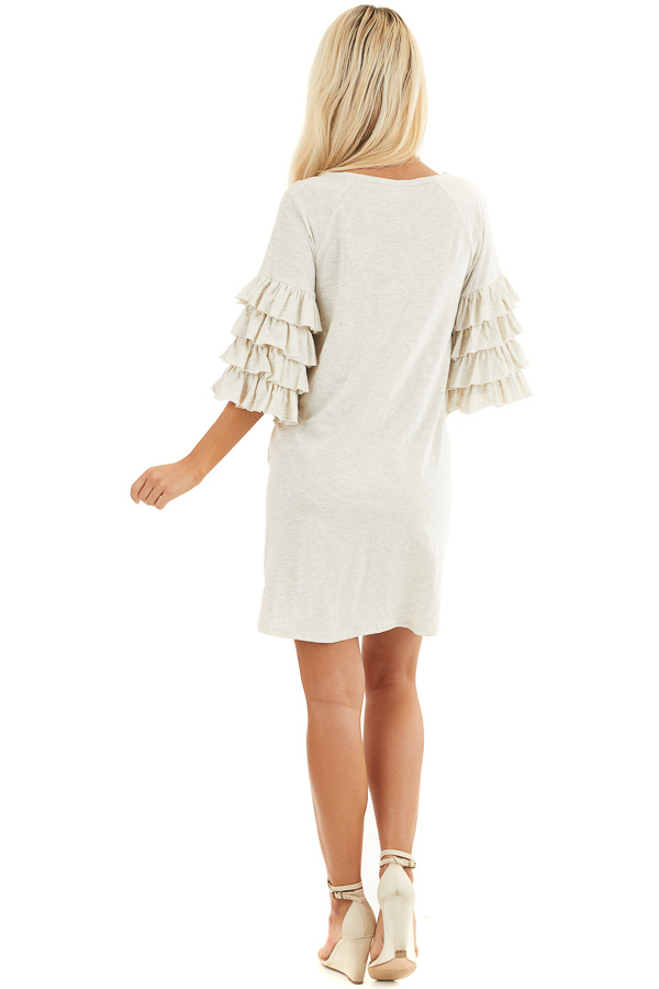 Eggshell Brushed Knit Short Dress with Tiered Ruffle Sleeves back full body