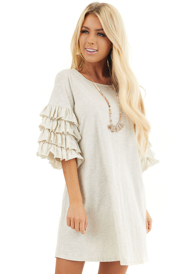 Eggshell Brushed Knit Short Dress with Tiered Ruffle Sleeves front close up