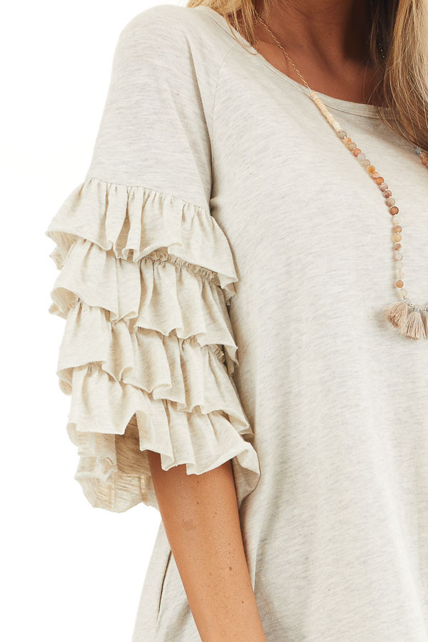 Eggshell Brushed Knit Short Dress with Tiered Ruffle Sleeves detail