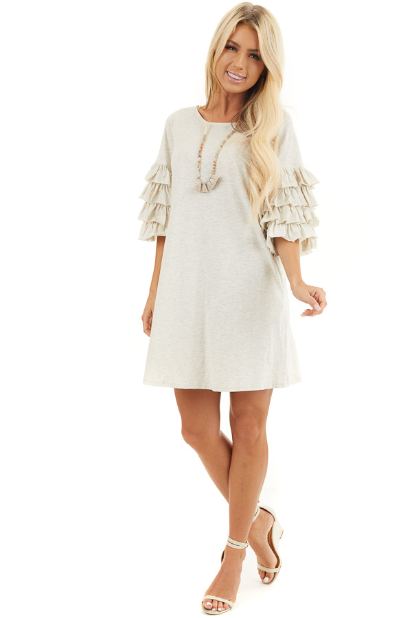 Eggshell Brushed Knit Short Dress with Tiered Ruffle Sleeves front full body