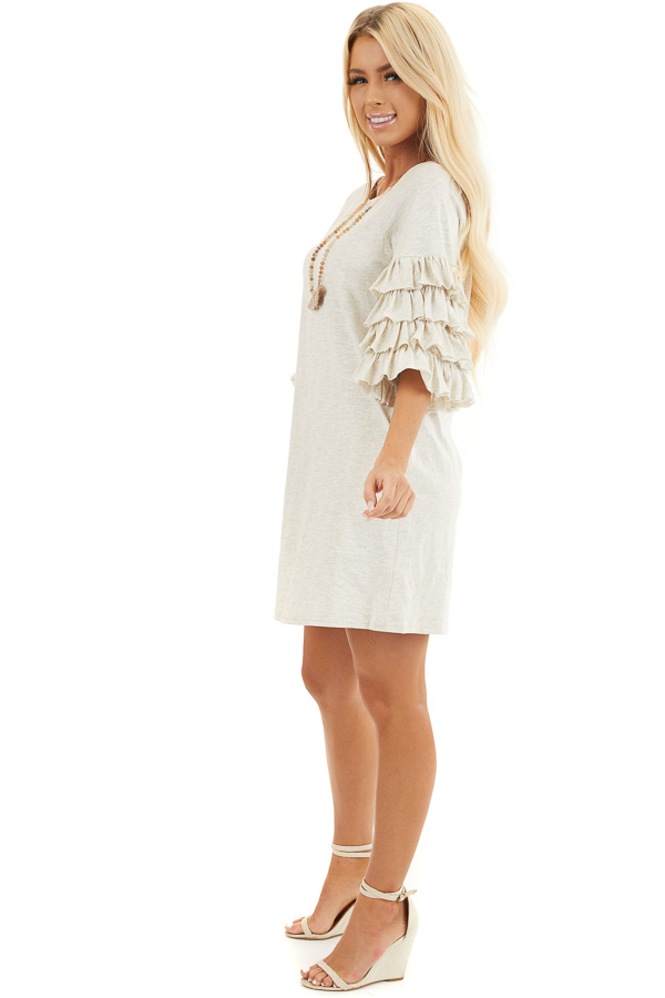 Eggshell Brushed Knit Short Dress with Tiered Ruffle Sleeves side full body