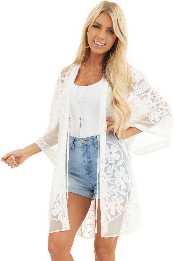 Off White Floral Lace Sheer Kimono with Tie Closure front close up