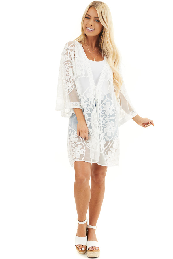 Off White Floral Lace Sheer Kimono with Tie Closure front full body