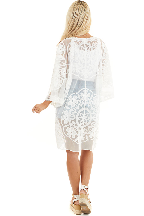 Off White Floral Lace Sheer Kimono with Tie Closure back full body