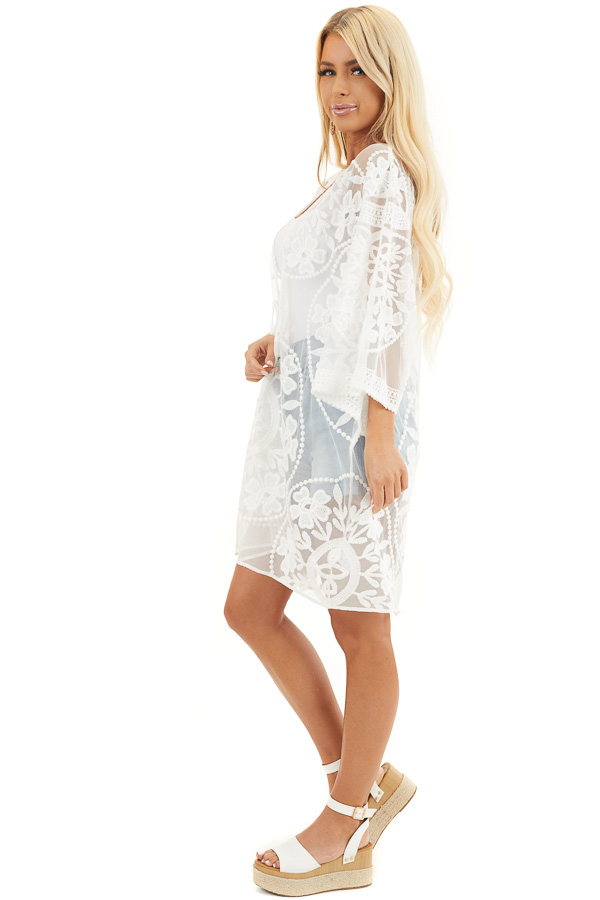 Off White Floral Lace Sheer Kimono with Tie Closure side full body