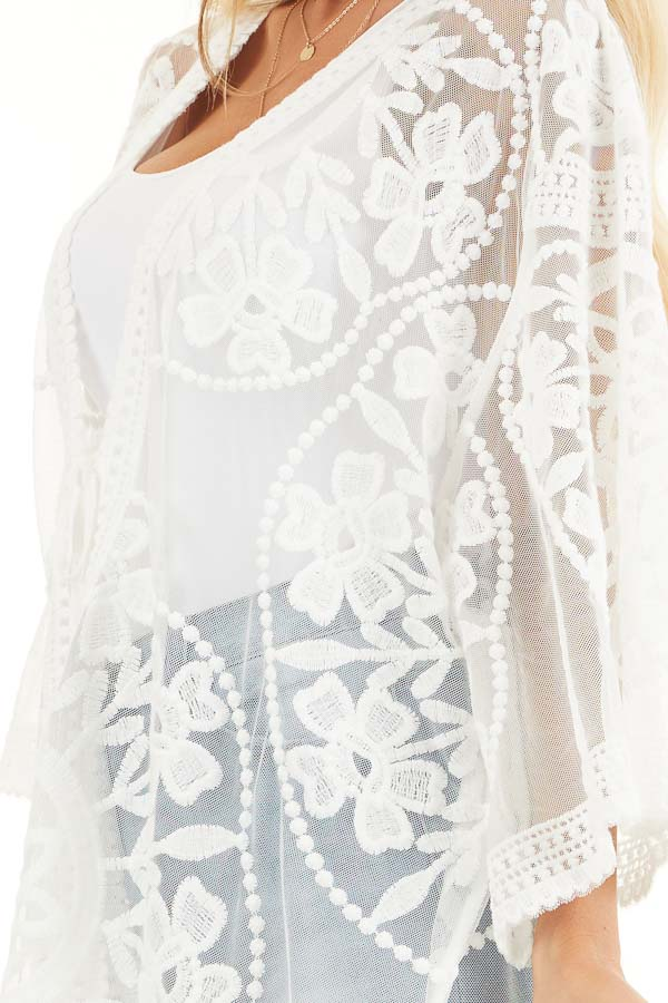 Off White Floral Lace Sheer Kimono with Tie Closure detail