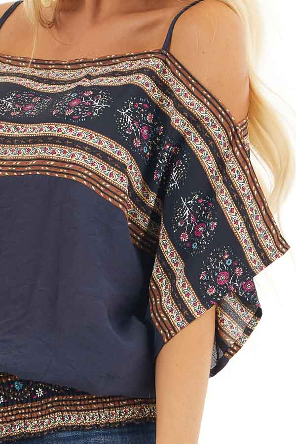 Navy Multi Print Cold Shoulder Half Sleeve Peasant Top detail