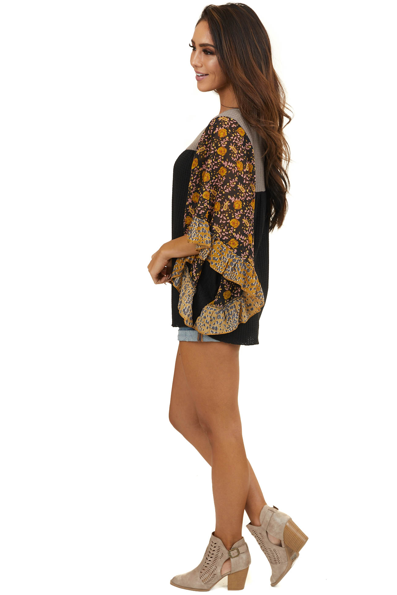 Black and Taupe Waffle Knit Top with Sheer Floral Sleeves