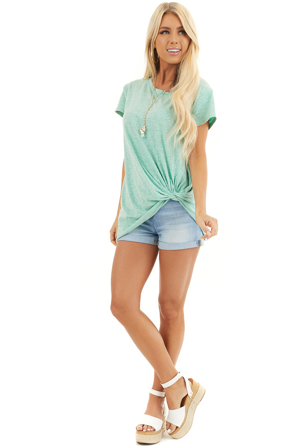Mint Short Sleeve Knit Top with Twisted Front Detail front full body