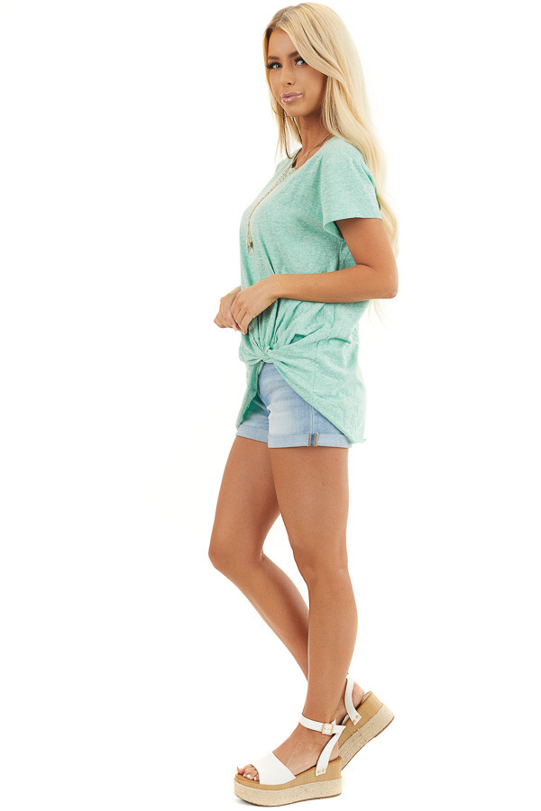 Mint Short Sleeve Knit Top with Twisted Front Detail side full body