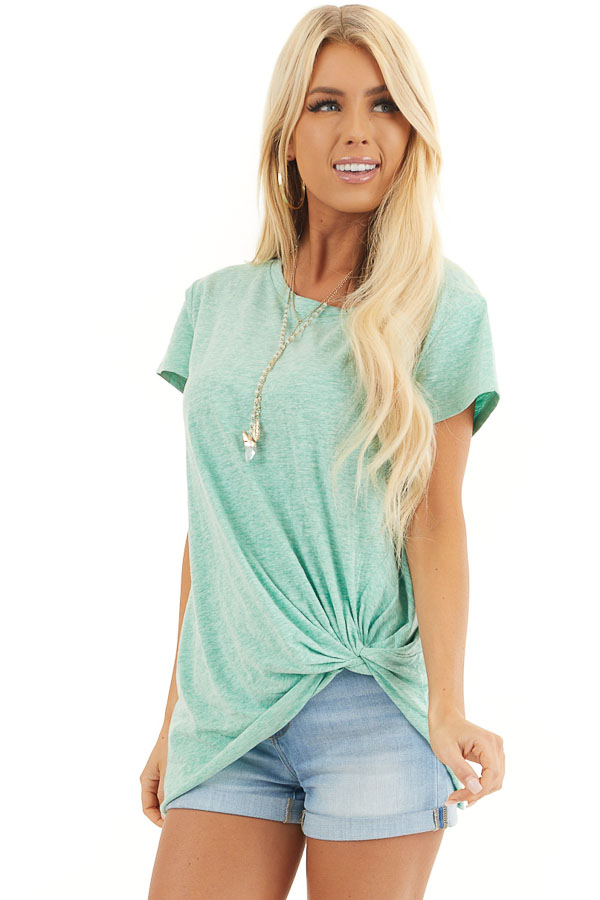 Mint Short Sleeve Knit Top with Twisted Front Detail front close up